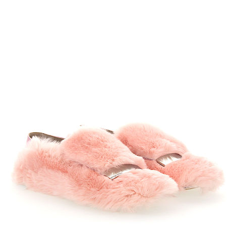 Sergio Rossi Slipper A77990 Kaninchenfell Metallspange rosa orange