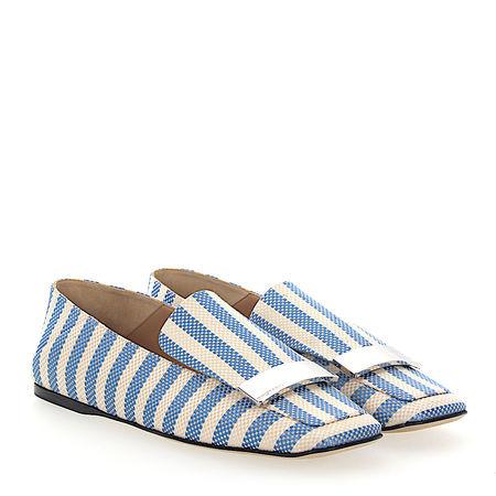 Sergio Rossi  Slipper A77990 Textil Metallspange beige blau beige