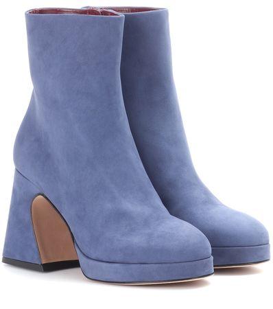 Sies Marjan Ankle Boots Gretta aus Veloursleder blau