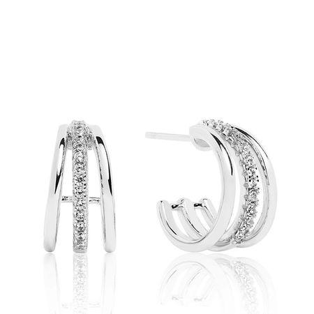 Sif Jakobs  Jewellery Ohrringe  -  Ozieri Piccolo Earrings White Zirconia 925 Sterling Silver  - in silber  -  Ohrringe für Damen grau