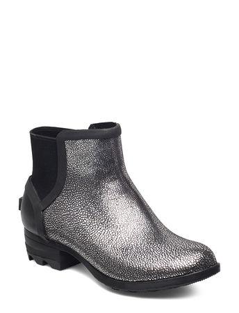 Sorel Janey Chelsea- Metallic Gummistiefel Schuhe Silber  grau