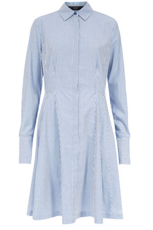 Steffen Schraut  Gemustertes Hemdblusenkleid aus Baumwolle Damen Farbe: weißblau verfügbare Größe: 34|36|38|40|42 grau