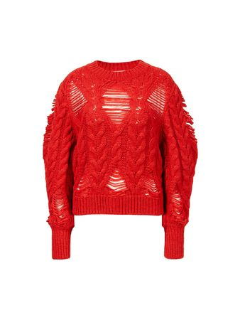 Stella McCartney  - Alpaka-Woll Pullover mit Rundhalsausschnitt Rot rot