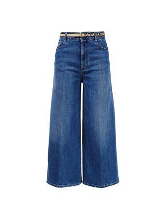 Stella McCartney  - Wide Leg Jeans mit Logo-Gürtel Blau blau