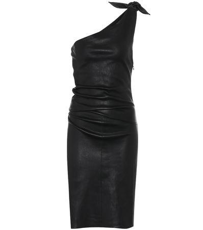Stouls One-Shoulder-Kleid Pepita aus Leder schwarz