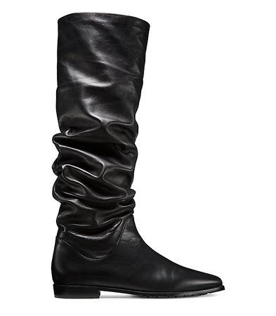Stuart Weitzman  - Der Flatscrunchy-Stiefel - Black - Size 42.5 schwarz