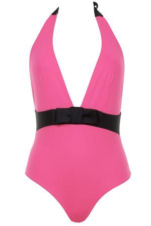 Sumarie Babylon Badeanzug in Pink mit schwarzer Taille und Schleife pink