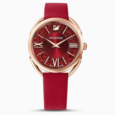 Swarovski Crystalline Glam Uhr, Lederarmband, rot, rosé vergoldetes PVD-Finish weiss
