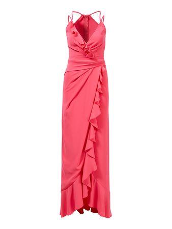 Talbot Runhof  - Langes Cocktailkleid mit Rüschendetails Pink rot
