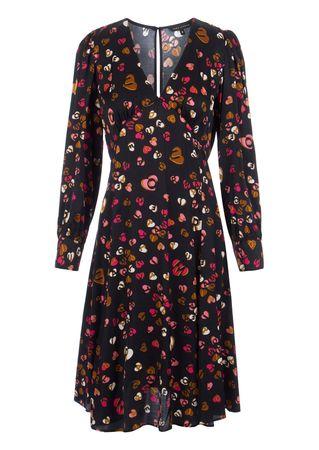 Tara Jarmon Kleid aus Viskose mit Herz-Print schwarz