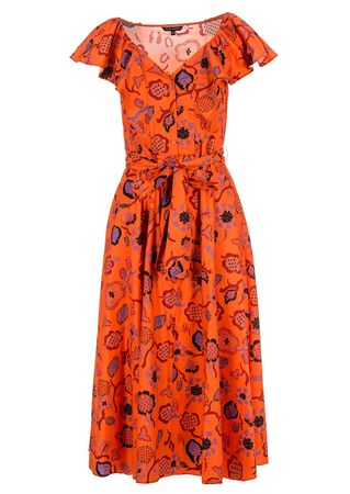 Tara Jarmon Kleid in Orange mit floralem Print rot