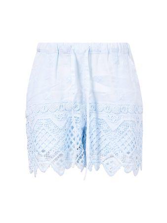 Temptation Positano  - Leinen-Shorts mit Spitze Blau blau
