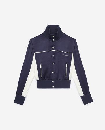 The Kooples  - blaues sweatshirt mit stehkragen bomber-style - nav - Damen weiss