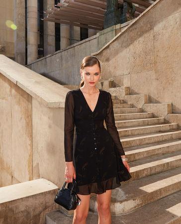 The Kooples  - elegantes kurzes kleid mit kaschmirmotiv - bla - Damen braun