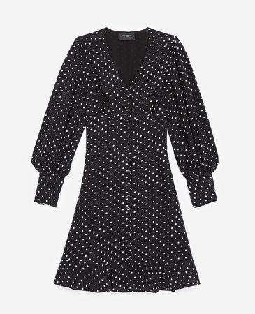 The Kooples  - Kleid kurz schwarz geknöpft mit Punkten -