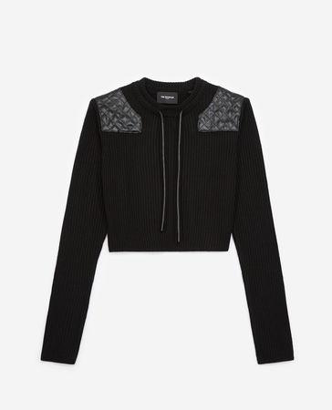 The Kooples  - Kurzer schwarzer Pullover mit Einsätzen -