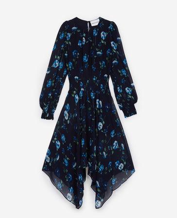 The Kooples  - langes bedrucktes kleid halblange ärmel - nav - Damen