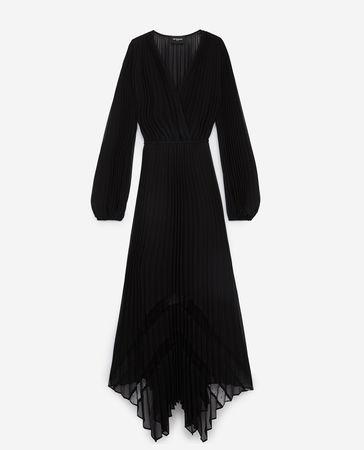 The Kooples  - Langes fließendes Kleid in Schwarz - weiss