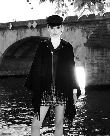 The Kooples  - poncho aus schwarzer wolle mit fransen - bla - Damen