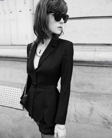 The Kooples  - schwarze elegante jacke aus wolle mit gürtel - bla - Damen grau