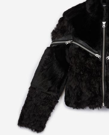 The Kooples  - schwarze kunstpelzjacke mit reißverschluss - bla - Damen