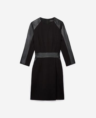 The Kooples  - schwarzes kleid mit lederärmeln - schwarz - Damen weiss