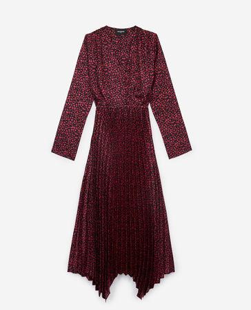 The Kooples  - Schwarzes langes Kleid mit Print und Knöpfen -