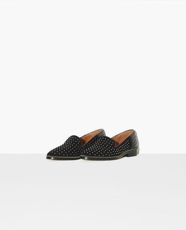 The Kooples  - veloursleder-slipper mit nietenverzierung - schwarz - Damen weiss