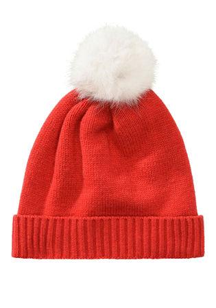 THE MERCER Cashmere-Mütze mit Bommel rot