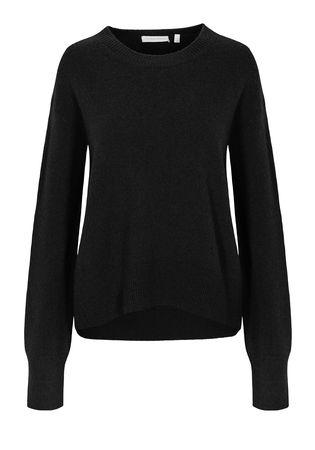 THE MERCER Pullover mit breiten Rippbündchen schwarz