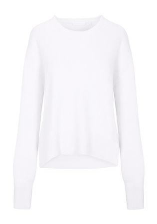 THE MERCER Pullover mit breiten Rippbündchen weiss