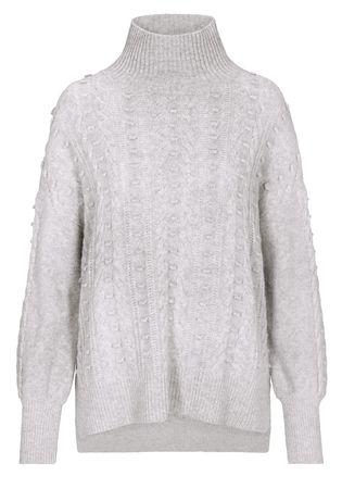 THE MERCER Stehkragen-Pullover mit Zopfmuster grau
