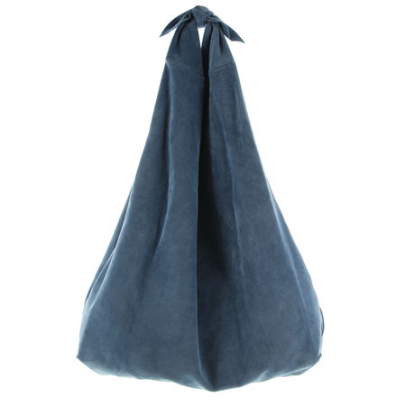 The Row  - Schultertasche Bindle Bag aus Veloursleder grau