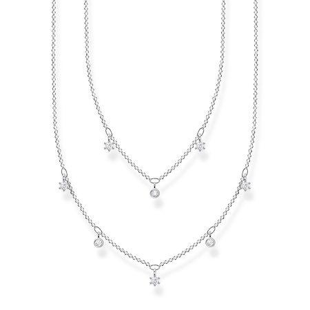 Thomas Sabo  Halskette  -  Necklace White Stones Pearl White  - in silber  -  Halskette für Damen