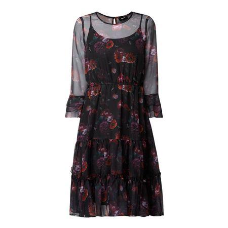 tigha Kleid mit floralem Muster schwarz