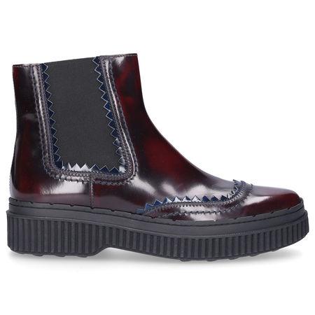 Tod's Chelsea Boots PES 39A Lackleder bordeaux grau