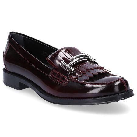 Tod's  Loafer 0U680 Glattleder Clamp-Schnalle Fransen bordeaux schwarz