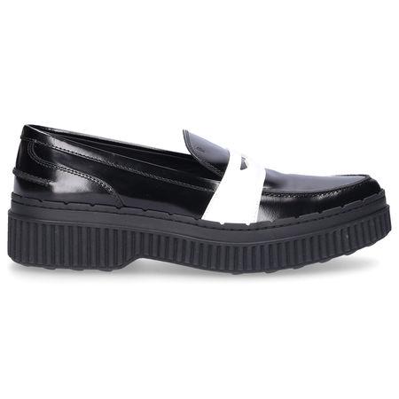 Tod's  Loafer W39A0 Kalbsleder  schwarz weiß