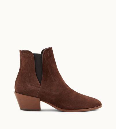 Tod's  Stiefeletten aus Veloursleder, BRAUN, 35 Schuhe weiss