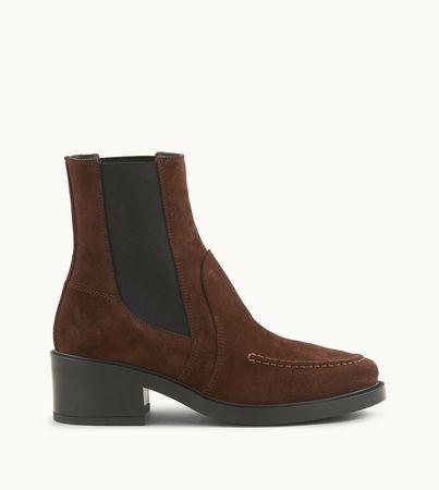 Tod's  Stiefeletten aus Veloursleder, BRAUN, 36 Schuhe weiss