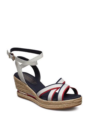 Tommy Hilfiger Elba 60c1 Sandale Mit Absatz Espadrilles Weiß  grau