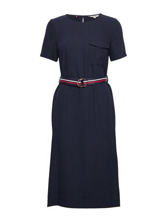 Tommy Hilfiger Poly Twill Ss Dress Kleid Knielang Blau  grau