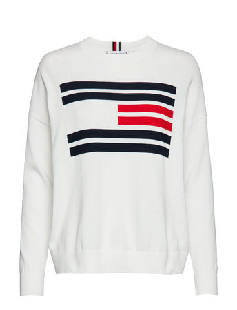 Tommy Hilfiger Th Essential Flag Sweater Strickpullover Weiß  grau