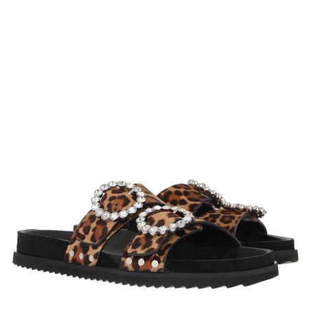 Toral  Sandalen & Sandaletten - Crystal Embellished Leo Print Slides - in braun - für Damen schwarz