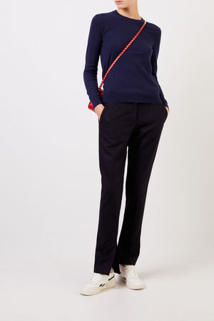 Tory Burch  - Cashmere-Pullover 'Iberia' mit Knopfdetails Marineblau 100% Cashmere