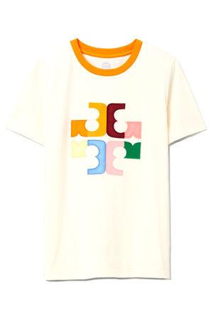 Tory Burch Damen Color Block Logo T-Shirt Creme weiss
