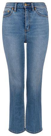 Tory Burch Damen Cropped Boot Jeans Worn in Stone Wash grau