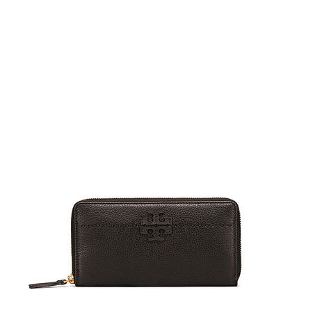 Tory Burch Damen Geldbörse McGraw Zip Continental Schwarz grau