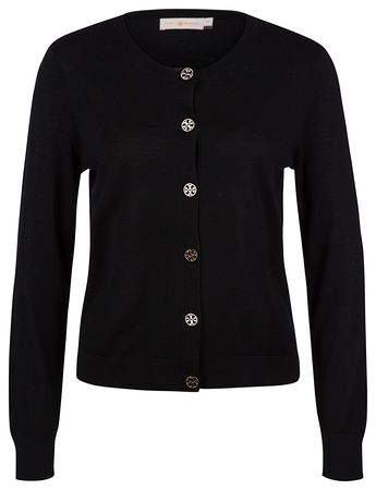 Tory Burch Damen Logo Button Cardigan Schwarz schwarz