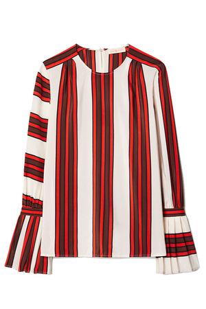 Tory Burch Damen Seidenbluse Maverick Stripe grau